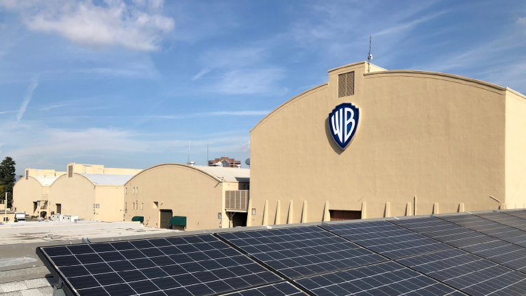 Warner Bros. building with solar panels out front